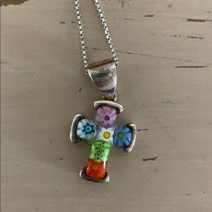 Jewelry - Silver Flower Cross Pendant